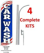 four 4 CARNE ASADA 11.5 WINDLESS SWOOPER FLAGS BANNERS