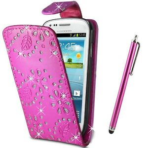 Pink-Glitter-Flip-Case-Pouch-PU-Leather-Cover-For-Samsung-Galaxy-S4-Mini-I9190