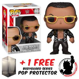 FUNKO POP VINYL WWE THE ROCK OLD SCHOOL #46 VINYL FIGURE + PROTECTOR