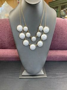 Vintage-White-Two-Strand-Lucite-Layered-large-bib-statement-necklace-18-Long