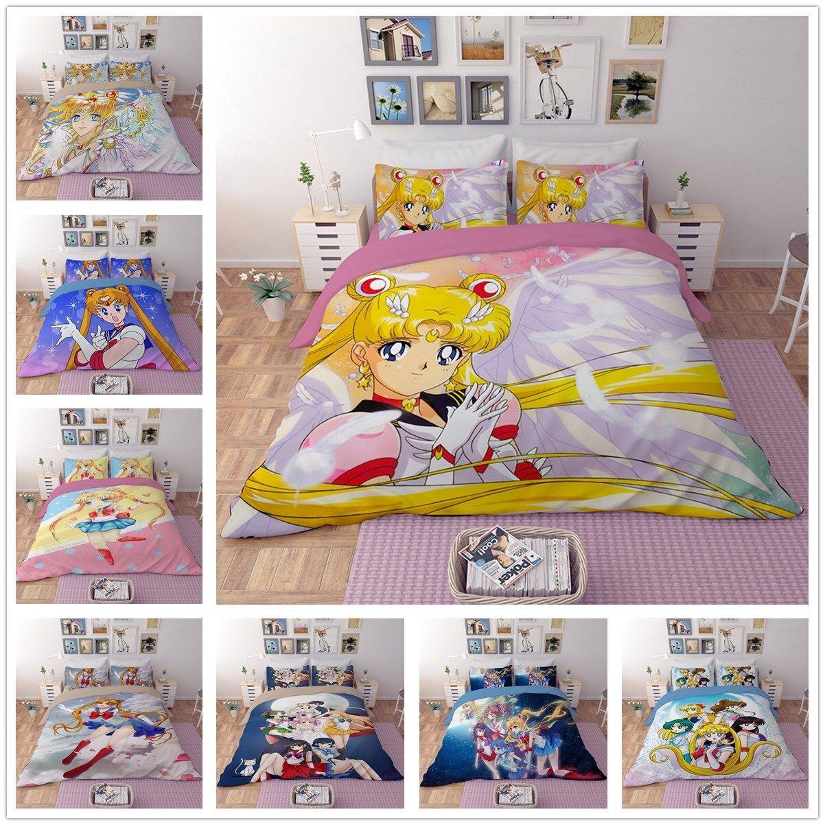 3D Sailor Moon Mars Duvet Cover Bedding Set Pillowcase Bedclothes Cosplay Prop
