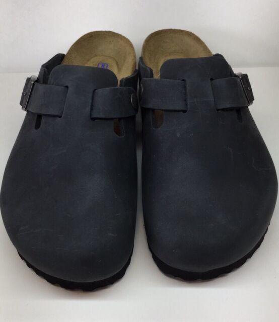 acfe29528755e6 Birkenstock Boston 1002586 Size 39 L8M6 R Black Nubuck Soft Footbed Clogs