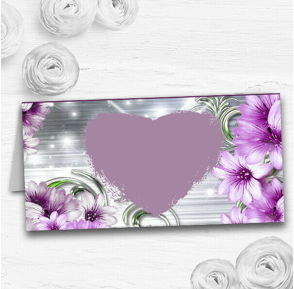lila Heart Flowers Wedding Table Seating Name Place Cards