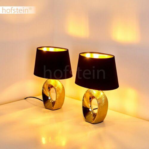Stoff Keramik gold Nacht Tisch Lese Lampen 2er Set Wohn Schlaf Zimmer Leuchten