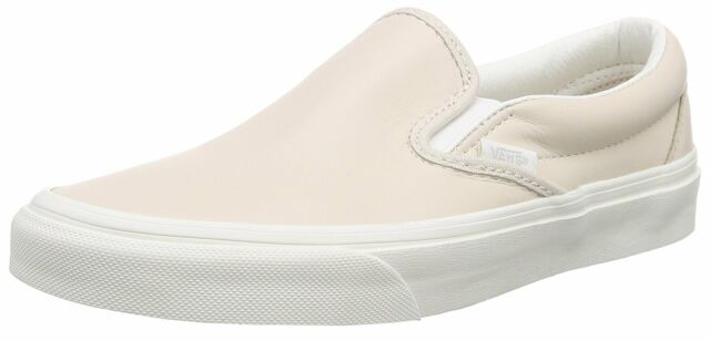 ad4fedcfa80c15 New Vans Unisex Classic Slip On Leather Pink True White Skate Shoes Mens 8.5