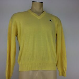 abff1bca45 Vintage Izod Lacoste Men s Long Sleeve V-Neck Sweater Yellow