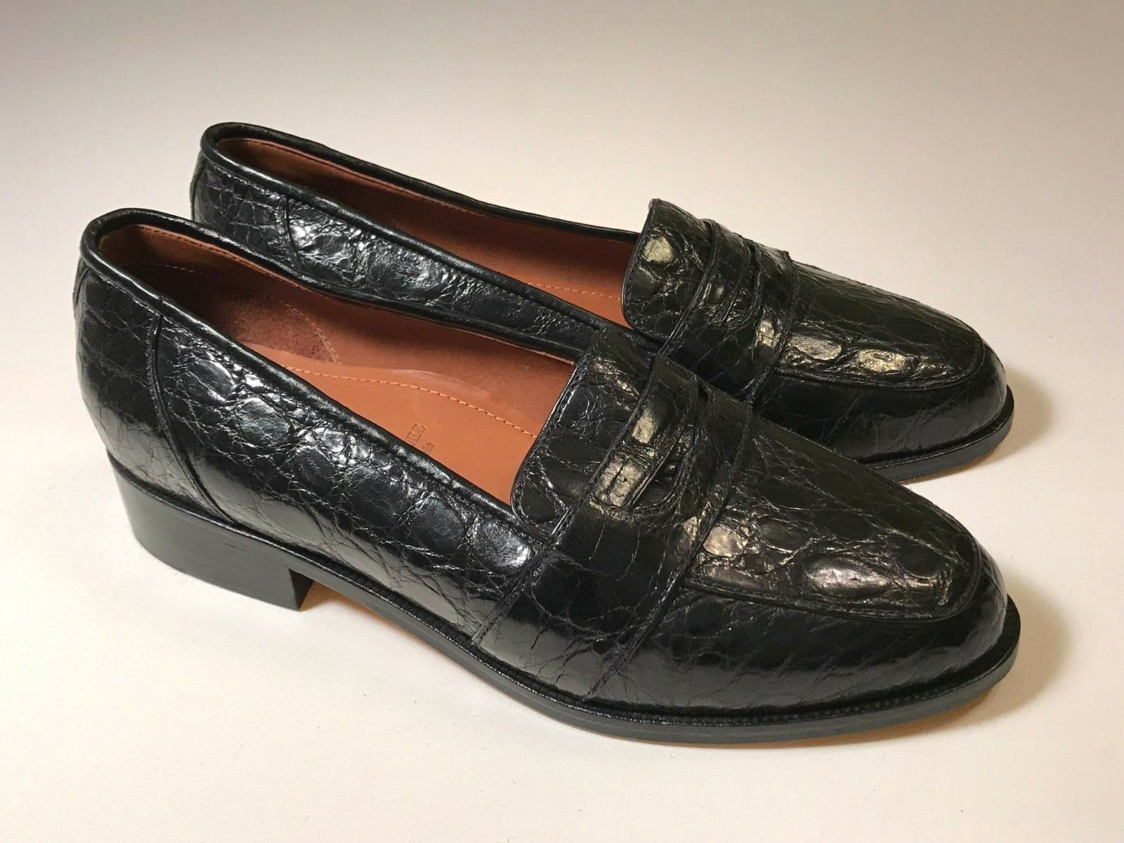B D Jeffries Jeffries Jeffries Black Genuine Crocodile Leather Loafers Women Size 5.5, EUC ( 450) 3b93b0