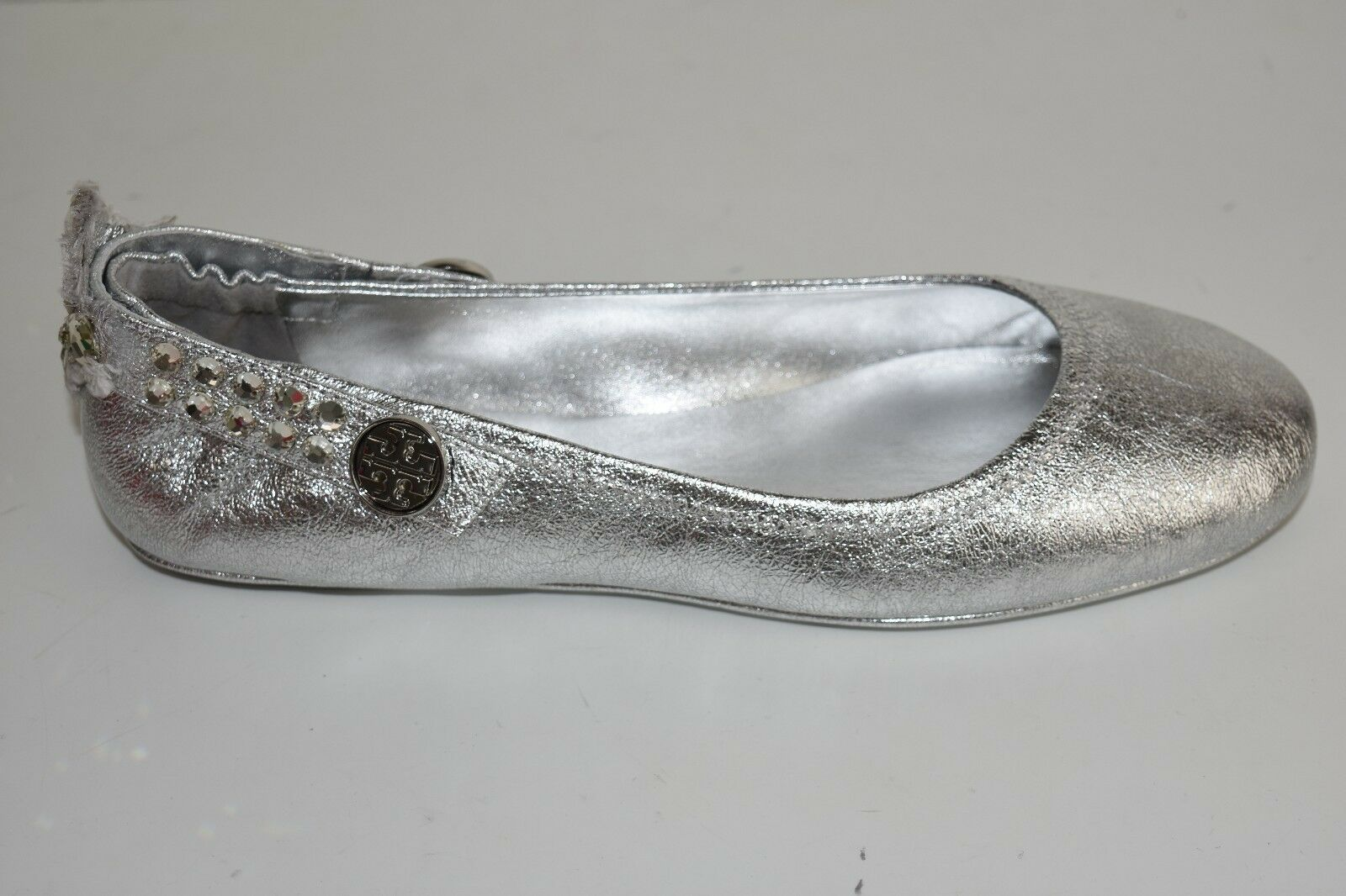 NEW Tory Burch MINNIE Crystals Crystals Crystals EMBELLISHED TWO WAY FLATS Silver Clear shoes 10 f1dc4c