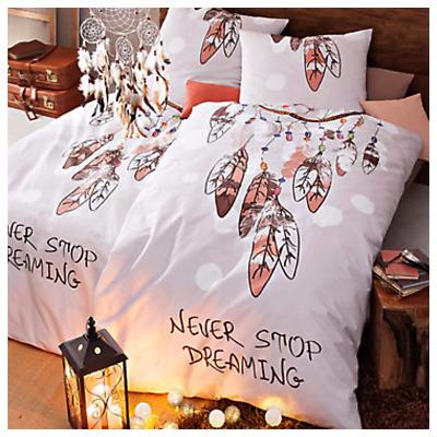 """Bettwäsche-Garnitur Traumfänger-Motiv Aufschrift """"Never stop dreaming""""155x220"""