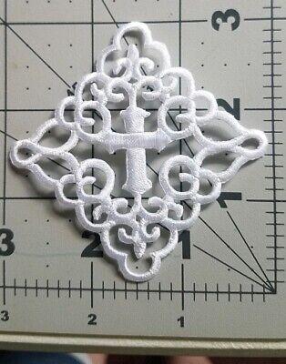 Iron on White Cross In Fleur de Lis Square Applique Patch