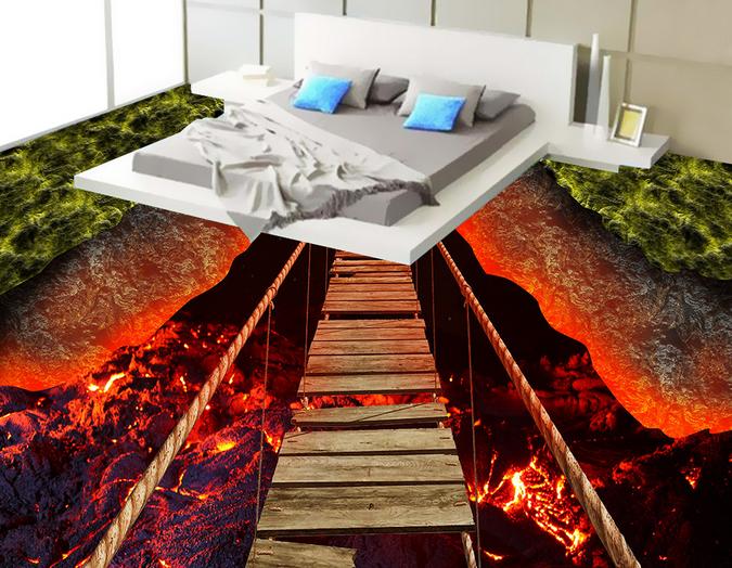 3D Flame Hills Bridge 78 Floor WallPaper Murals Wall Print Decal AJ WALLPAPER US