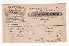 fattura antica - FRATELLI DELLAGRISA NEGOZIO IN CESTI E FERRAMENTA 1891