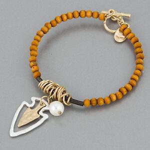 Silver Hammered Gold Arrowhead Charms Bohemian Bangle Bracelet Fashion Jewelry for Women Man