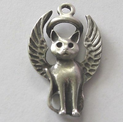 Pewter Kitty-Cat Guardian Angel Keychain~Memorial Keepsake With Gift Bag