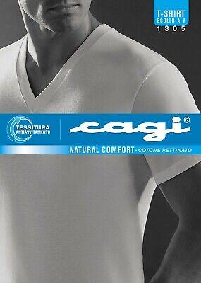 1 T-shirt Scollo V Mezza Manica Cagi Art 1305 100% Cotone Tg 3 4 5 6 7 8 A Scelt