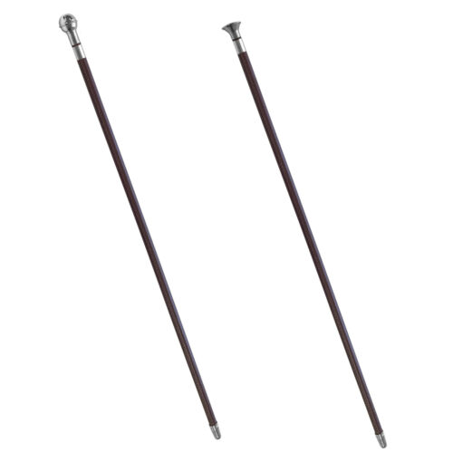"""24/"""" Leather Covered In-hand Show Cane with Ball or Mushroom Cap Metal Tip"""
