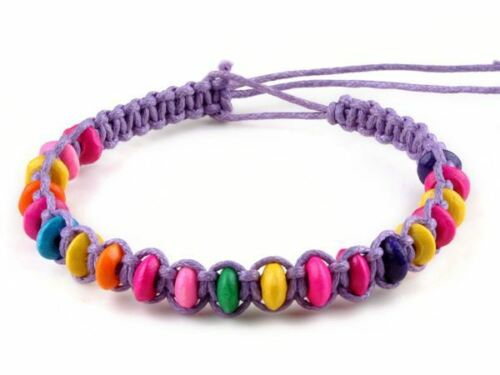 Handmade Fashion Friendship Bracelets multi-coloured beads cord rainbow gift