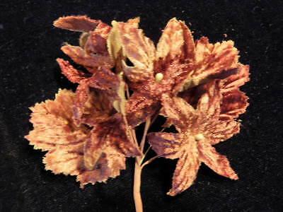 "Vintage Millinery Flower 2"" Plum Velvet 6p Lot for Hat Wedding or Hair Y244"