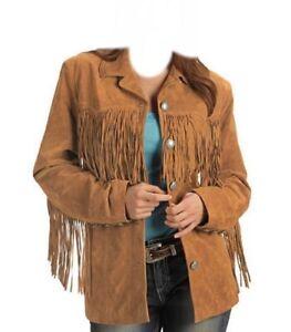 Women Western Leather Wear Cow-Lady Fringe Vintage Long Coat Jacket