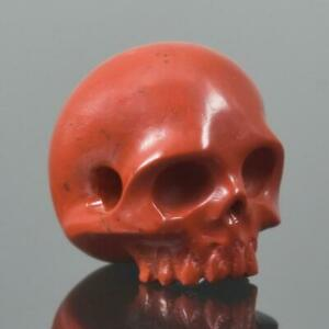 Red-Jasper-Human-Skull-Bead-Guru-Natural-Indonesia-13-88-mm-Carving-3-62-g