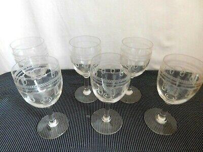 Satz Sechs Kleine Gläser Kristall Graviert Girlanden Geometrisches Und Gadroon