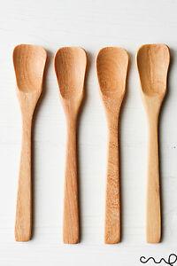 4-X-Handmade-Small-Wooden-Spoons-Petal-Head-Teaspoons-Sugar-Salt-14-5cm-Unique