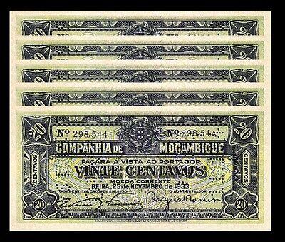 UNC MOZAMBIQUE 20 CENTAVOS 1933 AUNC P-R29 PERFORATED 5 PCS LOT