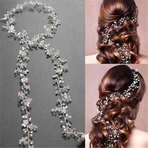Damen-Stirnband-Perlenhaarband-Kette-Hochzeit-Haarband-Haarkette-Kopfschmuck-Neu
