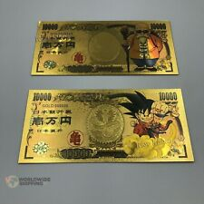 2 Billet de 10000 Yen Dragon Ball Z DBZ Gold / Carte Card Carddass / Banknote