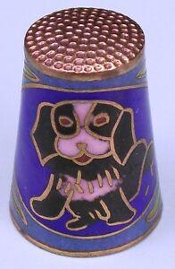 Vintage Little Dog-Motif Cloisonné Latón Esmalte de Costura Dedal