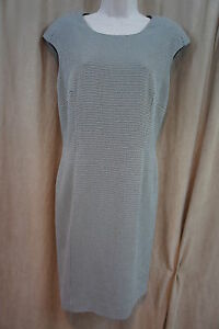 Tahari-ASL-Dress-Sz-8-Black-White-Plaid-Padded-Cap-Sleeve-Business-Cocktail