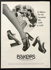 1973 Vintage Print Ad 1970s BAKERS SHOES Foot Fashion Style Woman's Leg Walking