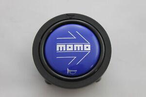 Momo-Hupenknopf-fuer-Sportlenkrad-Blau-52mm-2polig-horn-button-Deckel