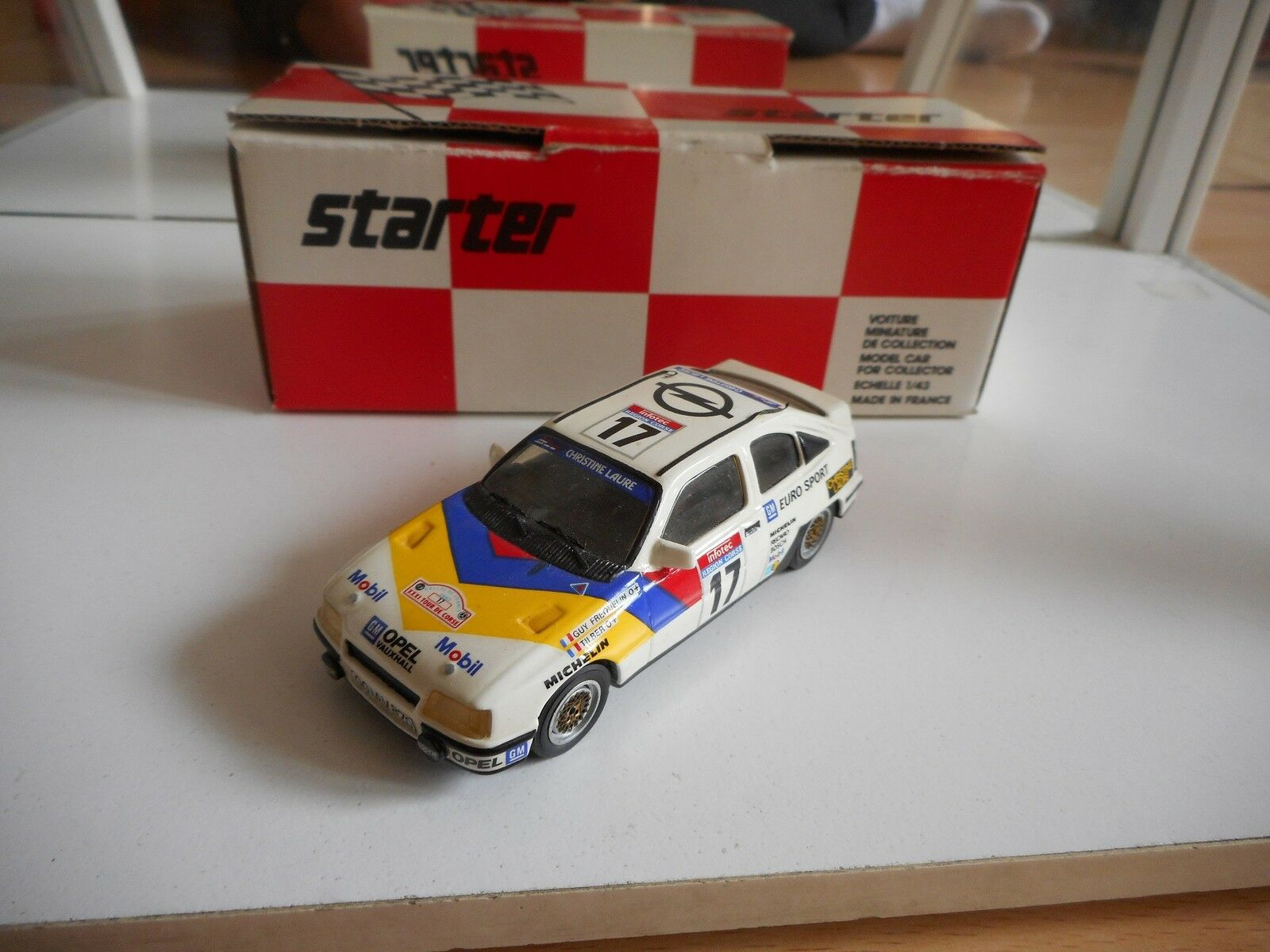 Starter Opel Kadett E Gr. A Tour de Corse 1987 in blanc on 1 43 in Box