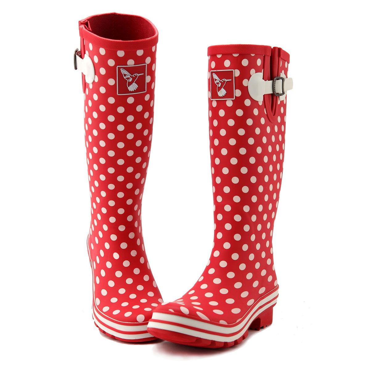 Evercreatures UK Brand Fashion Women's Red Rubber Rain Boots Poka Dots Printing