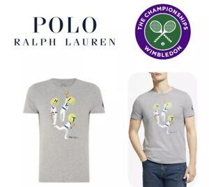 Polo Ralph Lauren WIMBLEDON 2019 Collection T-Shirt Men's SZ L Grey TENNIS Rare!
