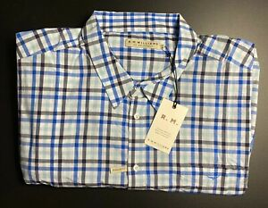 RM Williams Mens Shirt Size 4XB Collins Long Sleeve Blue White Check Long Horn