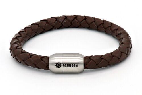 Poseidon Armband ANTONIO Leder geflochten 8 mm Ø Edelstahl Magnetverschluss