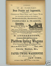 1878 PAPER AD Manchester NH Fairbanks & Pearson Undertakers Carriage Casket