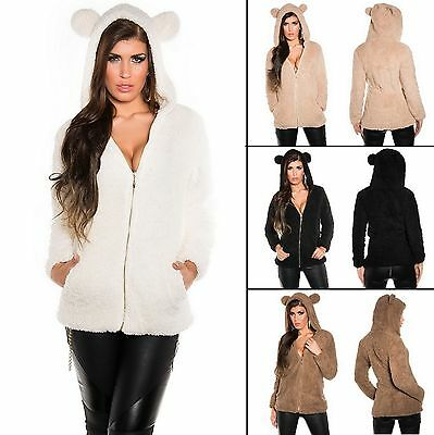 Women's Fluffy Hooded Jacket with Bunny Ears - S / M / L / XL