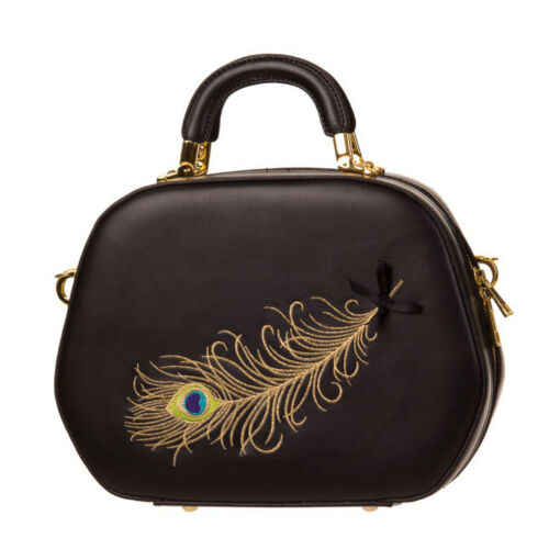 Banned Rockabilly Vintage Handtasche No Trace Feather Peacock Pfauenfeder