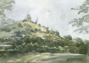 Welsh-Castle-Landscape-ORIGINAL-WATERCOLOUR-PAINTING-Steve-Greaves-Art-Scene
