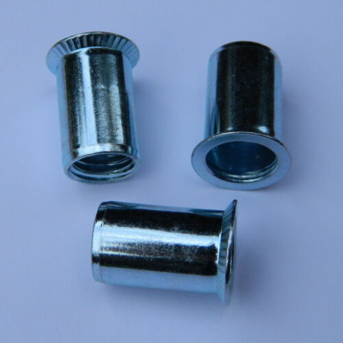 50 Stk Blindnietmuttern M4 Stahl verzinkt Senkkopf glatt 4-6mm //.Einnietmuttern