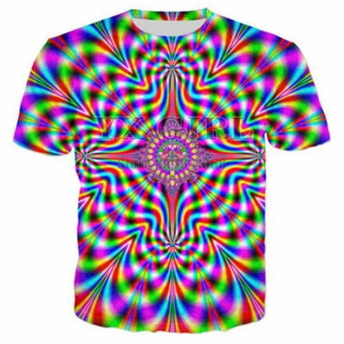 Xmas Women//Men Colorful Tie-Dye Hypnosis Funny 3D Print Casual T-Shirt Short Tee