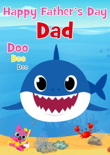 Personnalisé Fête des Pères Carte Bébé requin tout nom//Relation.