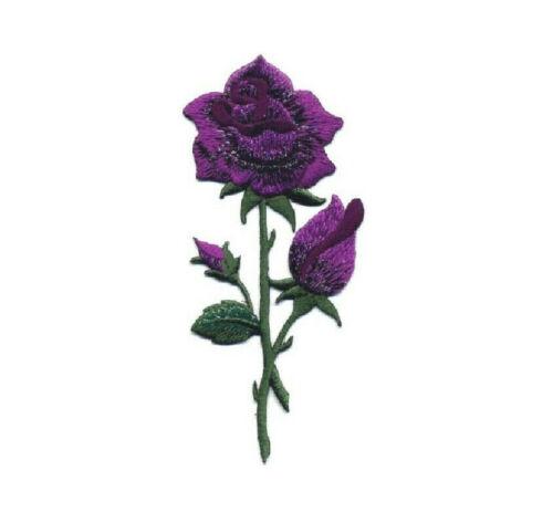 Rose Pourpre-Majestic-fleur-rose brodé Iron On Applique Patch N