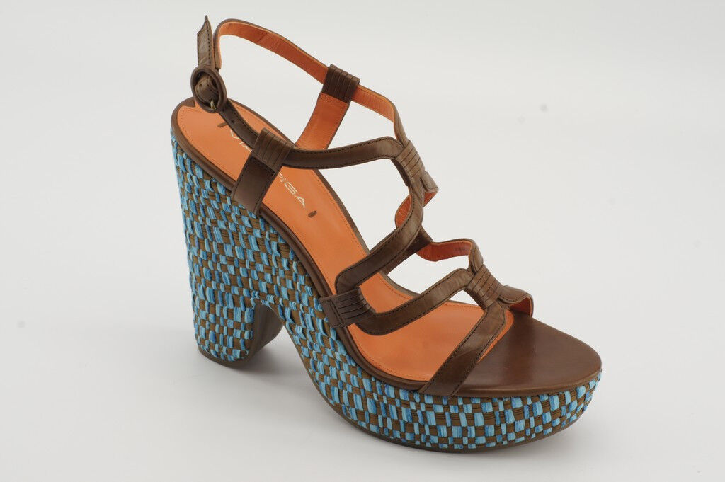 225 Nouveau Via Spiga Cai tabac turquoise en cuir compensées escarpins Taille 9 Sandales