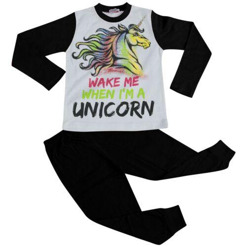 Filles Pyjamas réveille-moi quand je suis une licorne Lounge Wear Nightwear Black Pjs 5-13 Ans