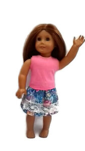 Outfit-fits-American-Girl-dolls-18-034-Doll-Clothes-Tank-Top-amp-Skirt-Pink-amp-Blue