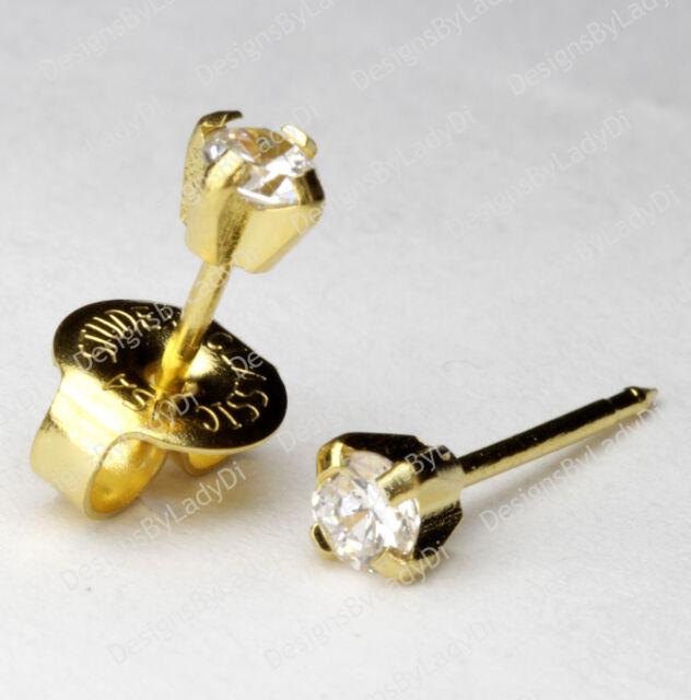 Gold Mini 3mm Clear Cz Ear Piercing Earrings Studs Studex System